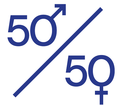 50% homme - 50% femme